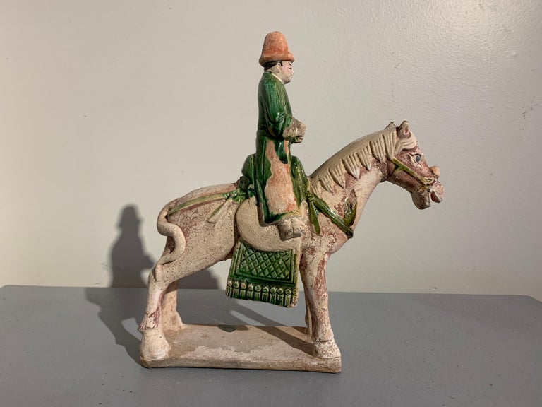 Chinese Ming Dynasty Green Glazed Horse and Rider with Attendant, 16th Century, China For Sale