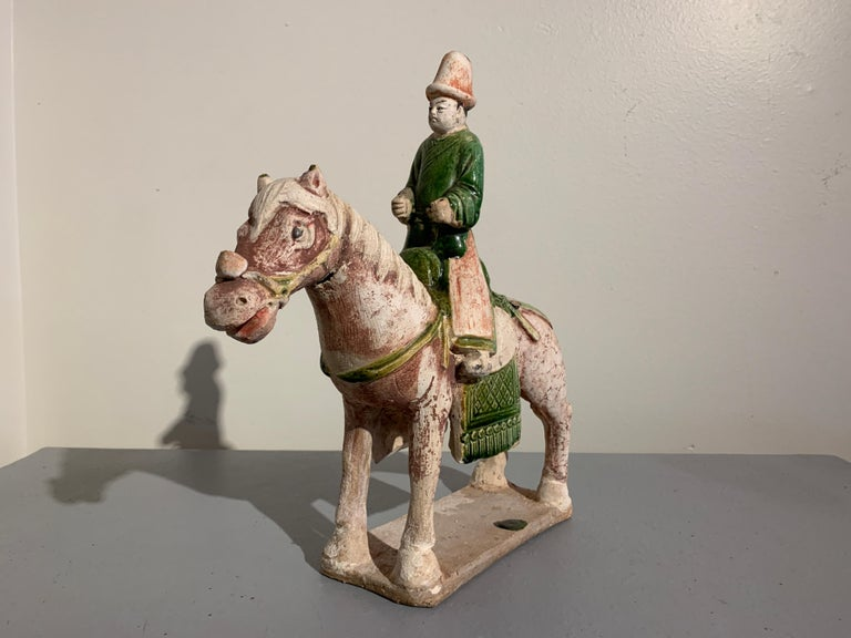 Pottery Ming Dynasty Green Glazed Horse and Rider with Attendant, 16th Century, China For Sale