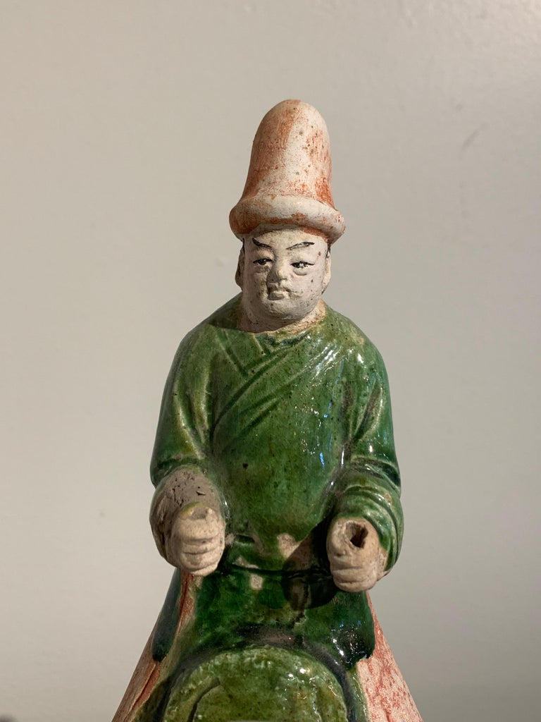 Ming Dynasty Green Glazed Horse and Rider with Attendant, 16th Century, China For Sale 2