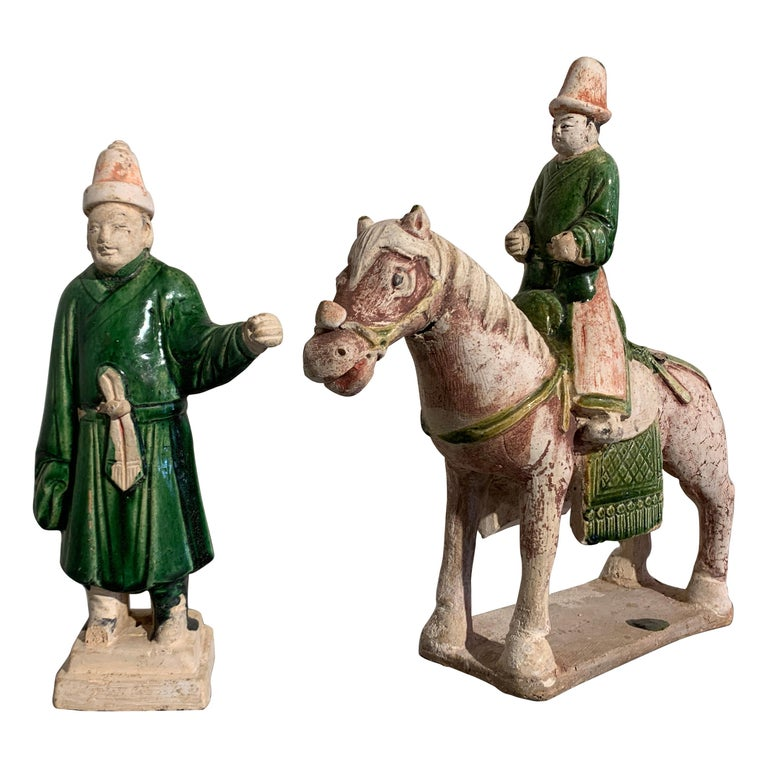 Ming Dynasty Green Glazed Horse and Rider with Attendant, 16th Century, China For Sale