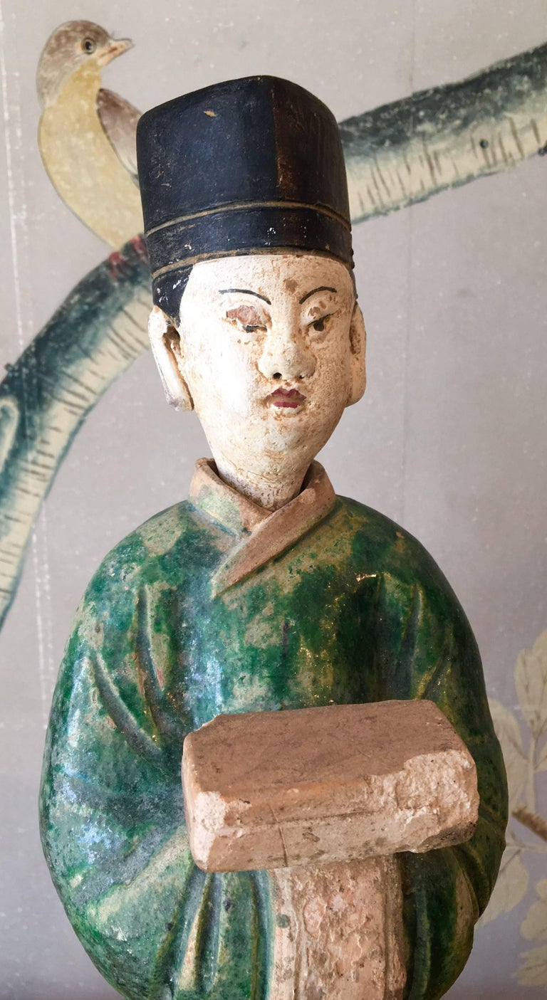 Hand-Painted Ming Dynasty Pottery Figure For Sale