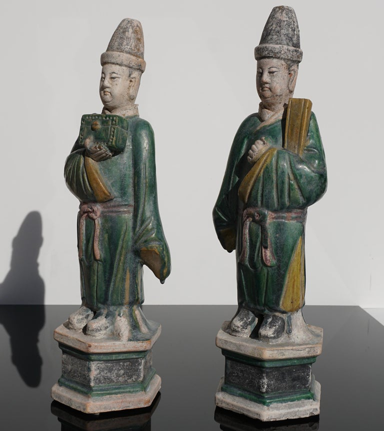 Chinese Ming Dynasty Sancai Glaze Dignitary Tomb Attendants 16th Century For Sale