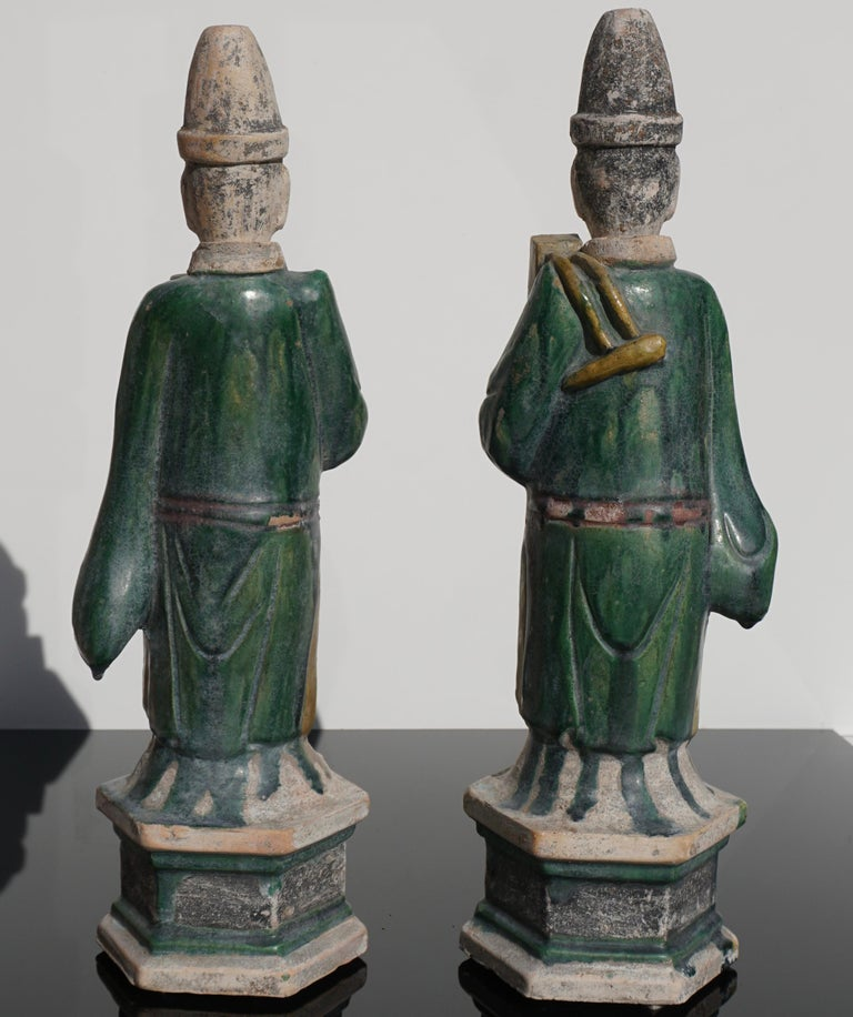 18th Century and Earlier Ming Dynasty Sancai Glaze Dignitary Tomb Attendants 16th Century For Sale