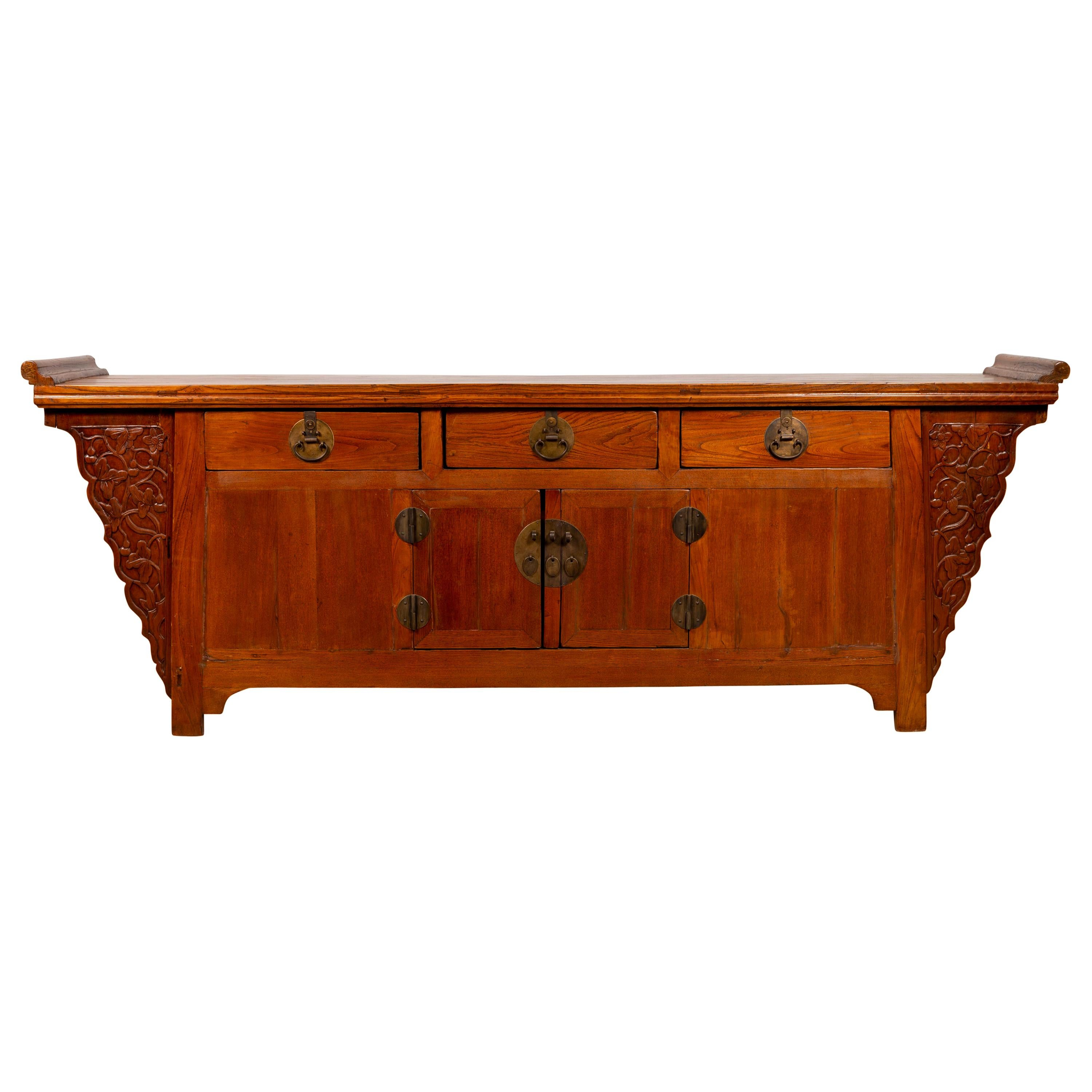 Ming Dynasty Style Altar Cabinet with Everted Flanges and Carved Spandrels