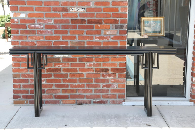 Ming Dynasty style black lacquer altar table.