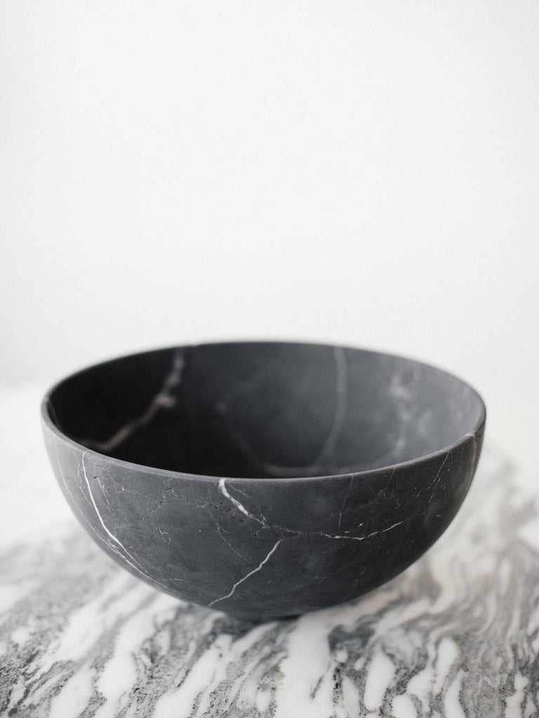 Mid-Century Modern Ming Grande Bowl in Black Marble, in Stock For Sale