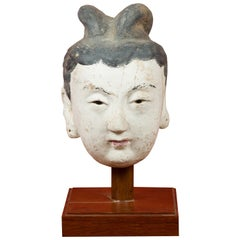 Ming Period Stucco Head of a Court Lady with Original Paint Mounted on Stand