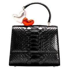 Ming Ray Black Python Clutch / Shoulder Bag