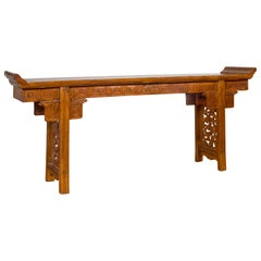 Ming Style Altar Table with Everted Flanges, Meander Apron and Cloud Motifs