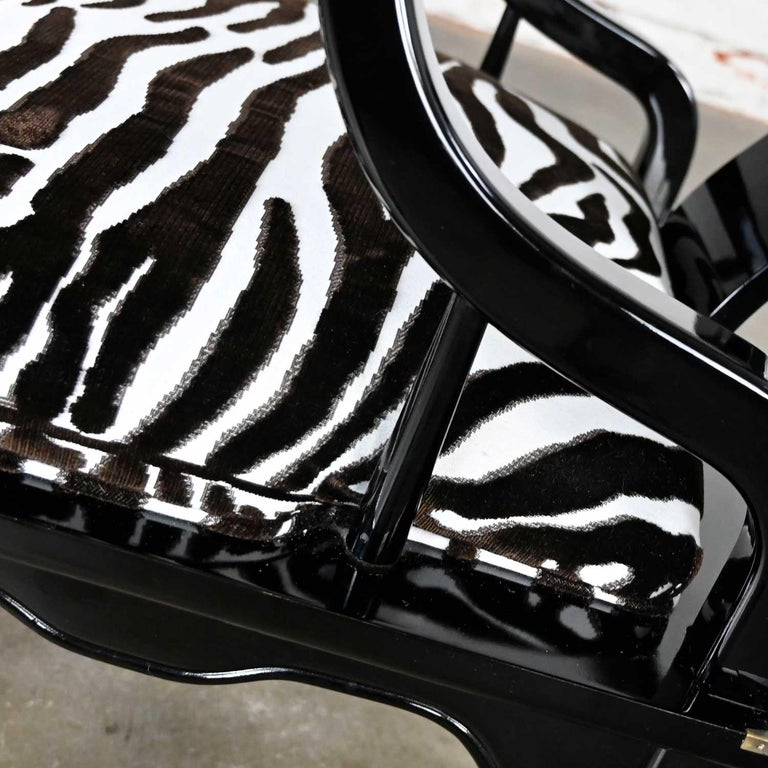 Ming Style Black Lacquer & Brass Low Chair After James Mont Scalamandre Zebra  For Sale 8
