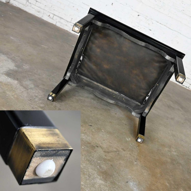 Ming Style Black Lacquer & Brass Low Chair After James Mont Scalamandre Zebra  For Sale 10