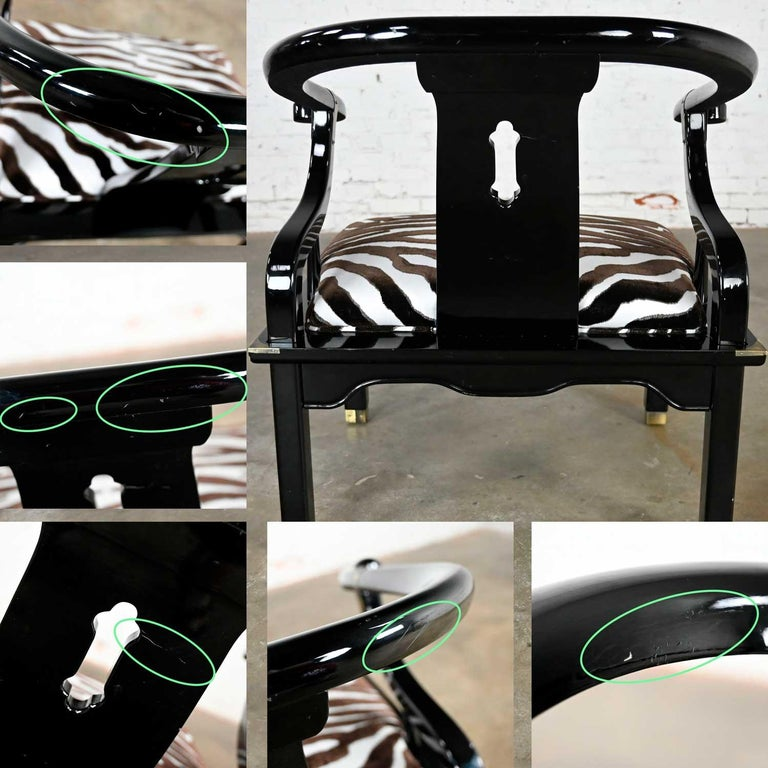 Ming Style Black Lacquer & Brass Low Chair After James Mont Scalamandre Zebra  For Sale 11