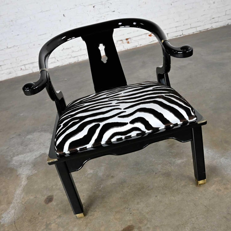 Hollywood Regency Ming Style Black Lacquer & Brass Low Chair After James Mont Scalamandre Zebra  For Sale
