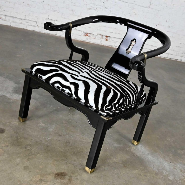 Ming Style Black Lacquer & Brass Low Chair After James Mont Scalamandre Zebra  In Good Condition For Sale In Topeka, KS