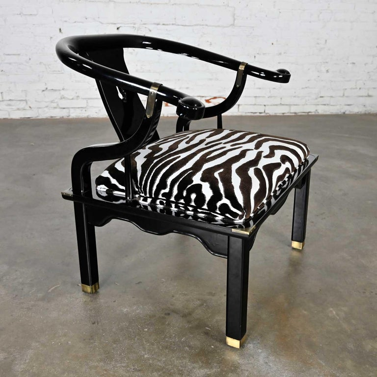 Ming Style Black Lacquer & Brass Low Chair After James Mont Scalamandre Zebra  For Sale 4