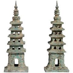 Ming Style Brass Watch Tower Pagoda