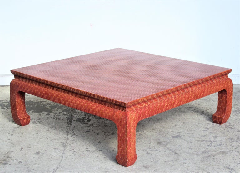 Brilliant Raffia Wrapped Ming Style Coffee Table By Baker