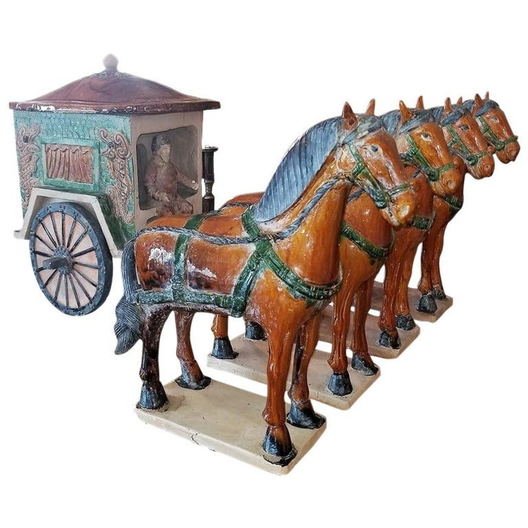 Ming Style Horses and Carriage For Sale