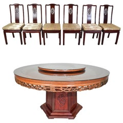 Ming Style Traditional Chinese 8 Piece Honey Rosewood Dining Set-Hand Carved