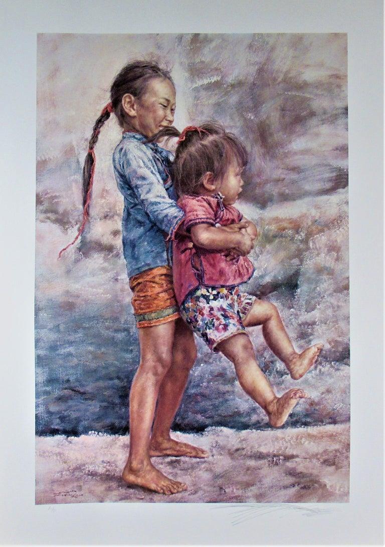 Happy Sisters - Realist Print by Wai Ming (aka Lo Hing Kwok)