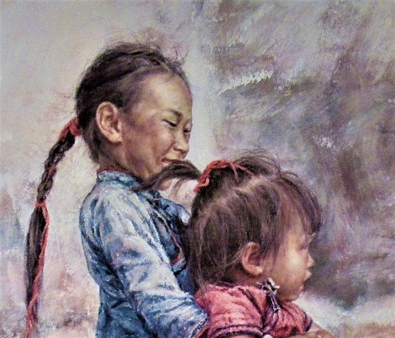 Happy Sisters - Gray Figurative Print by Wai Ming (aka Lo Hing Kwok)