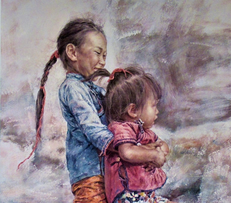 Happy Sisters - Beige Figurative Print by Wai Ming (aka Lo Hing Kwok)