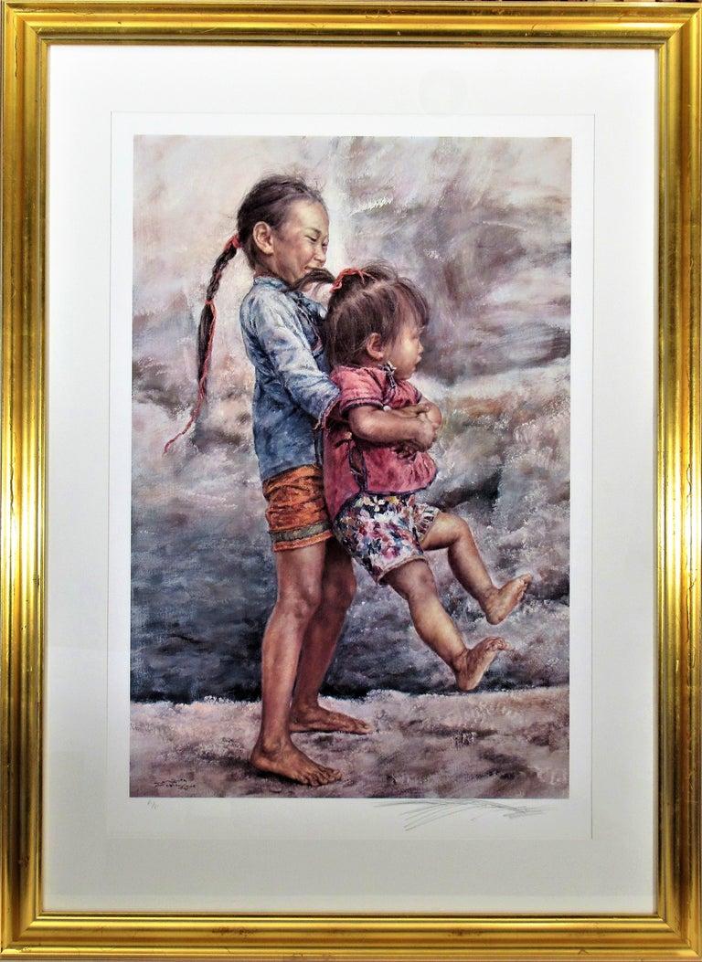 Wai Ming (aka Lo Hing Kwok) Figurative Print - Happy Sisters