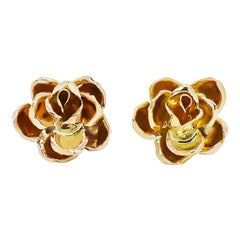 Ming's Hawaii 3D Rose Earrings 14 Karat Yellow Gold