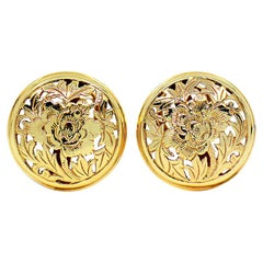 Ming's Hawaii Four Seasons Disc Earrings 14 Karat Yellow Gold Post and Clip Back