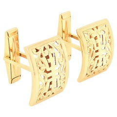 Ming's Hawaii Longevity Cufflinks in 14 Karat Yellow Gold
