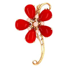 Ming's Hawaii Red Coral and Akoya Pearl 14 Karat Yellow Gold Large Flower Brooch