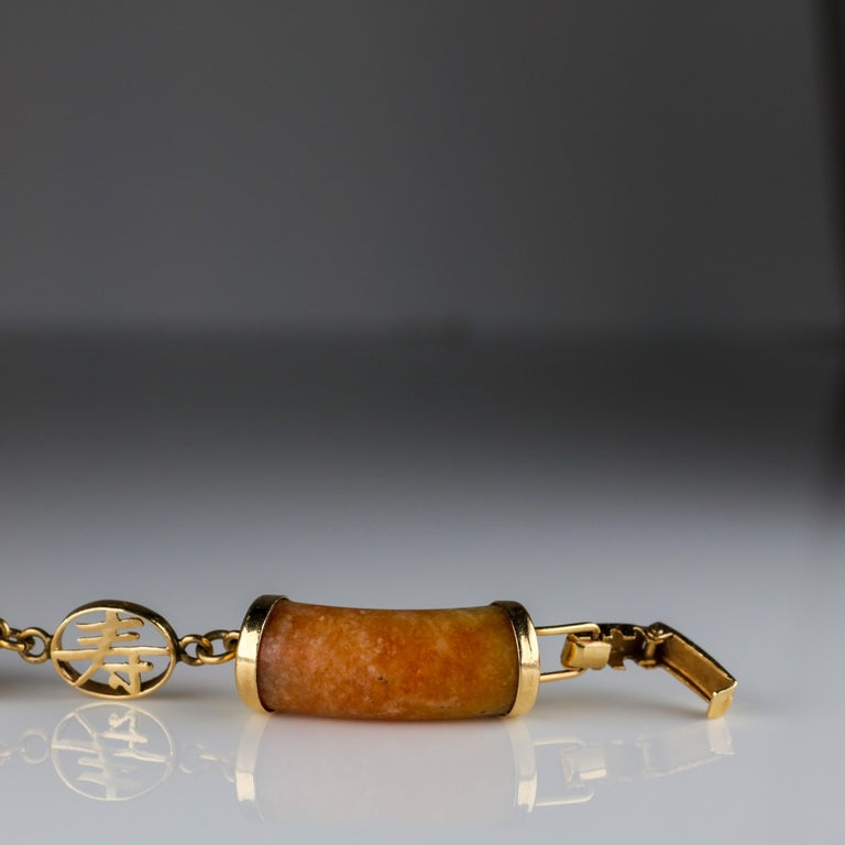 Ming's Jade Link Bracelet Early Unsigned For Sale 3