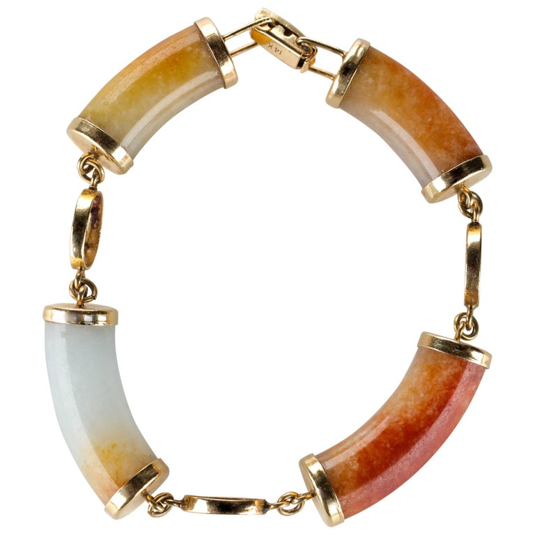 Ming's Jade Link Bracelet Early Unsigned For Sale