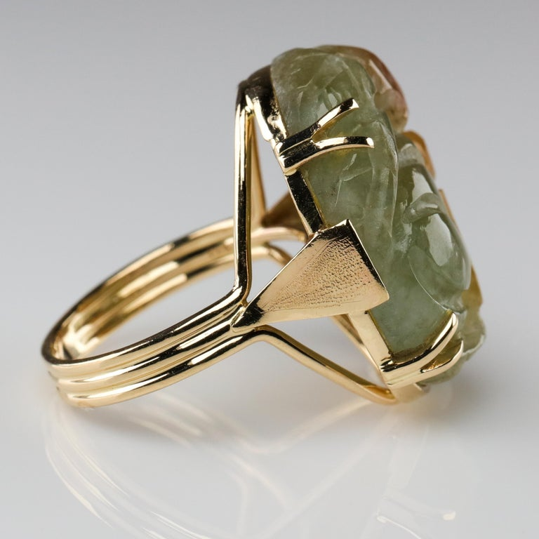 Ming's Jade Ring from Midcentury For Sale 4