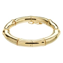 Mings Yellow Gold Hinged Bamboo Bangle Bracelet