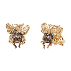 Mini Bee 18 Karat Gold Black and Cognac Diamond Stud Earrings