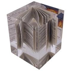 Mini Book in Lucite Cube Paperweight