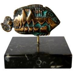 Mini Brutalist Bronze and Verdigris Fish Sculpture, 1970s