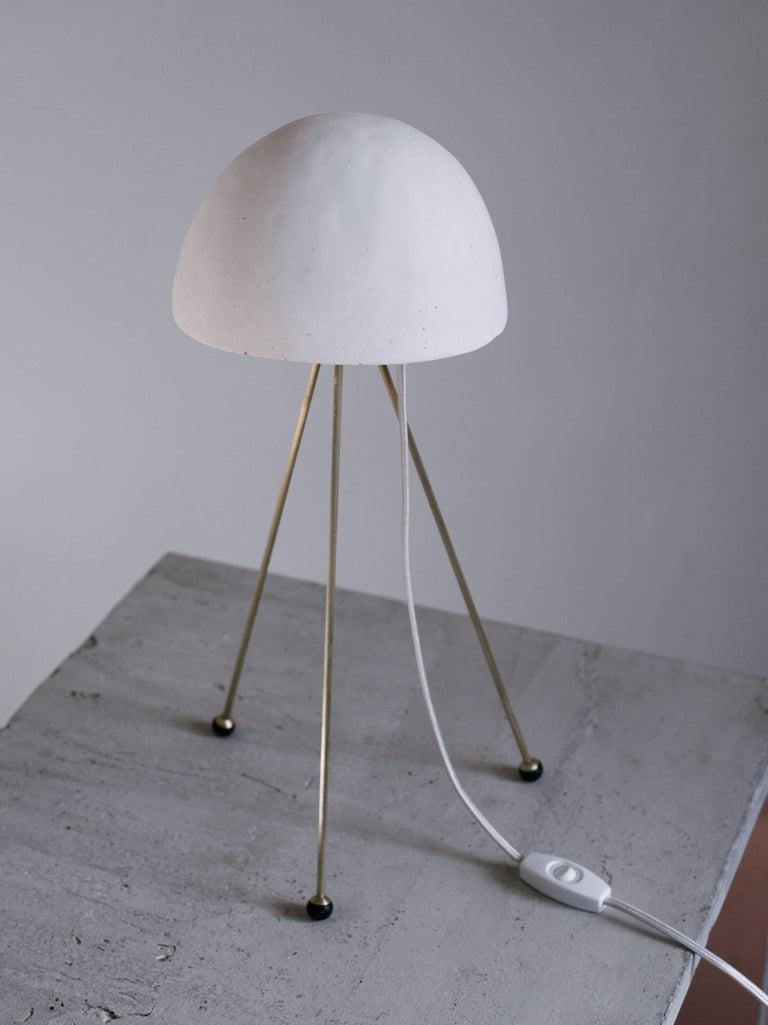 American Mini Buddy Desk Lamp with Gypsum Noggin and Brass Tripod Legs For Sale
