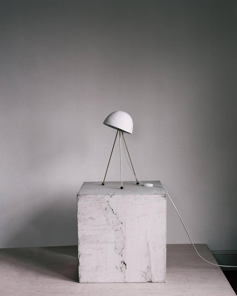 Mini Buddy Desk Lamp With Gypsum Noggin And Brass Tripod Legs For Sale At 1stdibs
