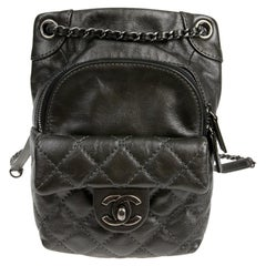 Mini CHANEL Backpack in Charcoal Gray Lambskin Leather