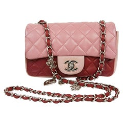 Mini CHANEL Timeless Bag in Tricolor Pink and Red Lambskin Leather