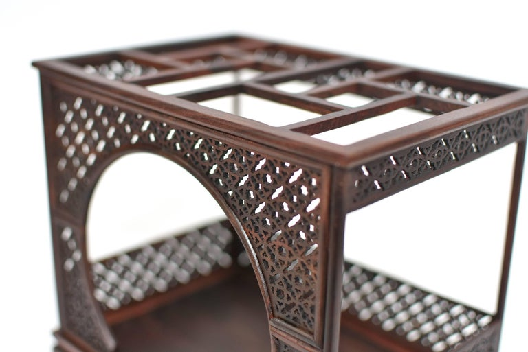 Mini Chinese Moon Bed, Wenge Wood Model For Sale 8