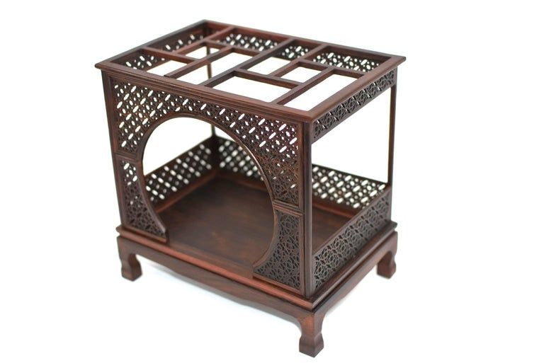 Mini Chinese Moon Bed, Wenge Wood Model For Sale 3
