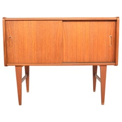Mini Danish Modern Sliding Door Midcentury Credenza in Teak