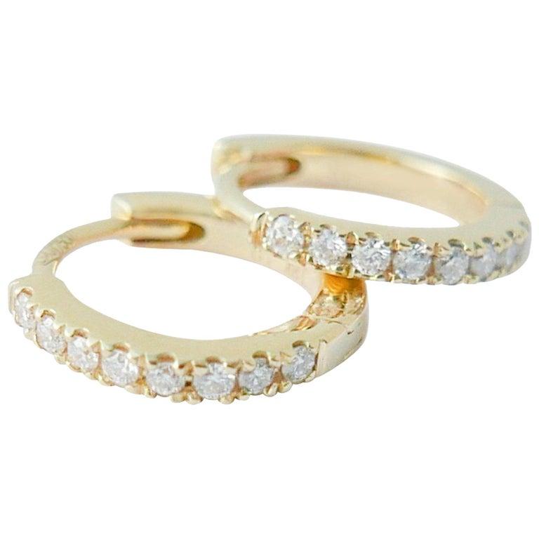 e44ea1335 Mini Diamond Hoop Earrings in 18 Karat Gold by Allison Bryan For Sale