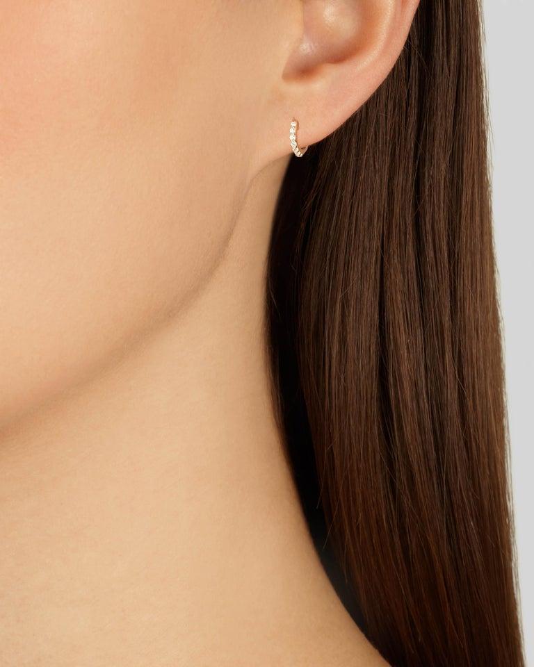 Round Cut Mini Diamond Hoop Earrings in 18 Karat Rose Gold by Allison Bryan For Sale