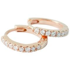 Mini Diamond Hoop Earrings in 18 Karat Rose Gold by Allison Bryan