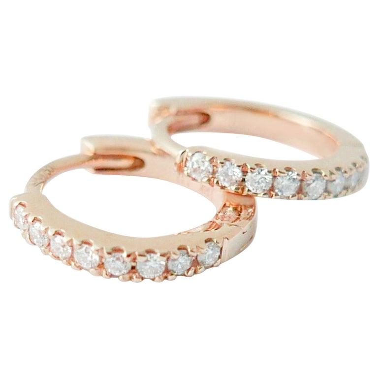Mini Diamond Hoop Earrings in 18 Karat Rose Gold by Allison Bryan For Sale