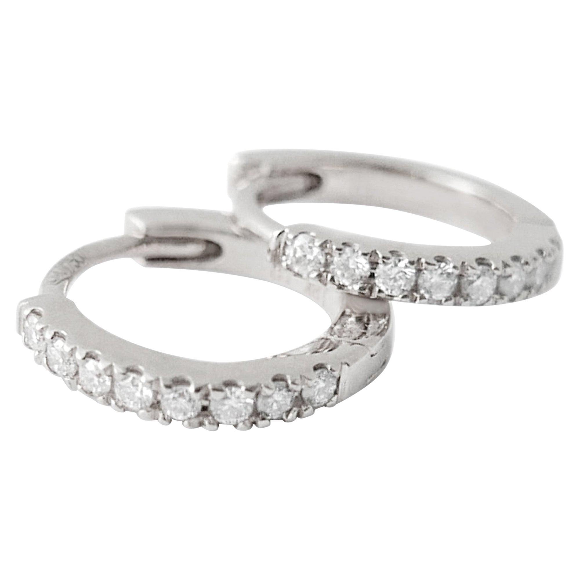 Mini Diamond Hoop Earrings in 18 Karat White Gold by Allison Bryan